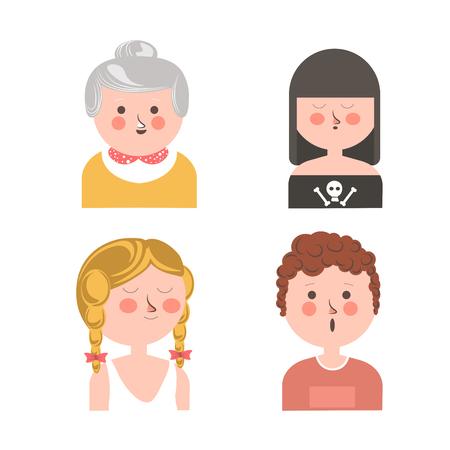 Women and curly guy funny cartoon avatars set Illustration