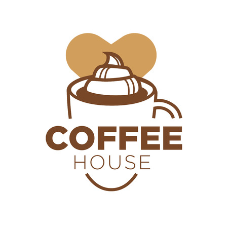 Coffee house design with big cup of delicious drink