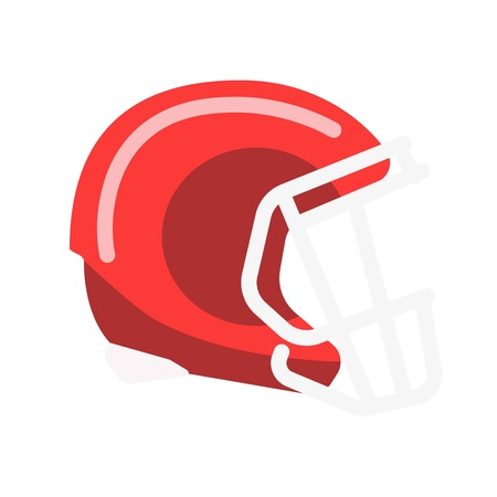 Red solid helmet with lattice for american football Illustration
