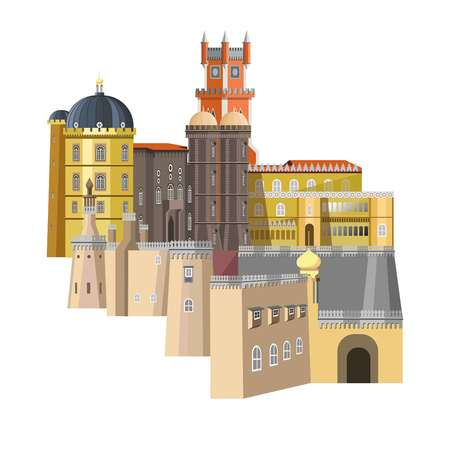 Medieval buildings with unusual structure and rich design