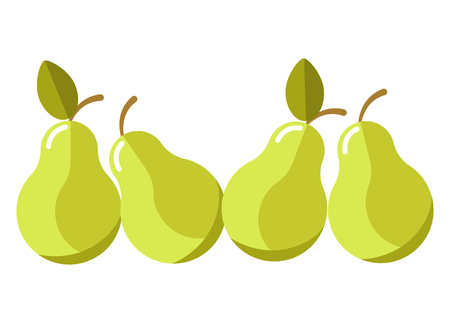 Green organic juicy pears with leaves isolated cartoon illustration
