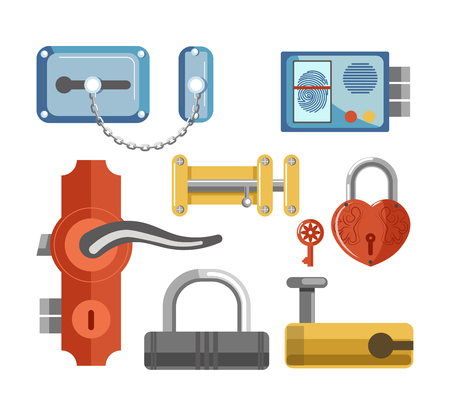 key hole: Metal locks for permises protection isolated illustrations set