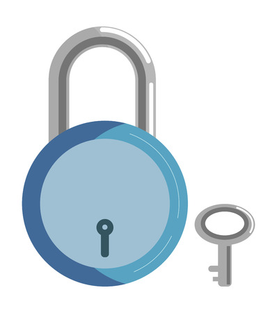 key hole: Simple metal lock with blue corpus and small key
