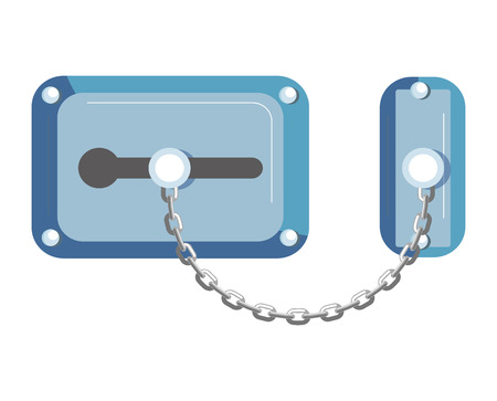 Blue old-fahioned metal lock with chain isolated illustration