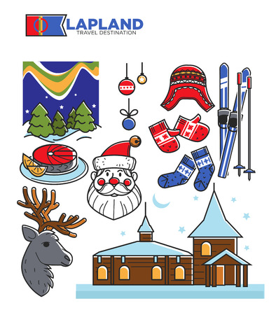 Lapland tourist travel and famous tourist culture symbols vector isolated icons set Illustration