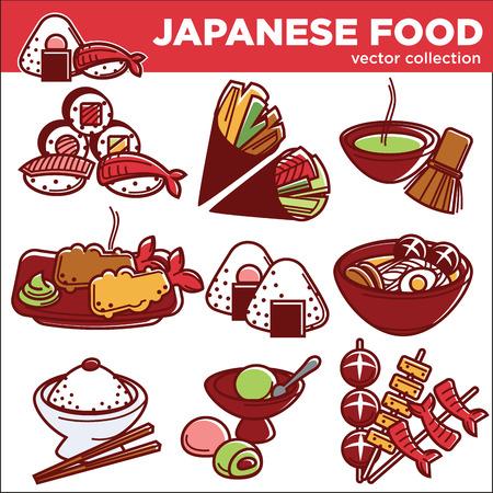 bar: Japanese food dishes vector icons for Japan traditional cuisine restaurant menu Illustration