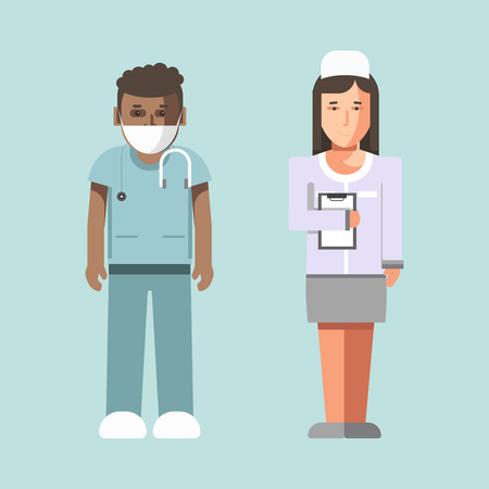 Medical workers or hospital doctors man physician and woman nurse vector flat icons Illustration