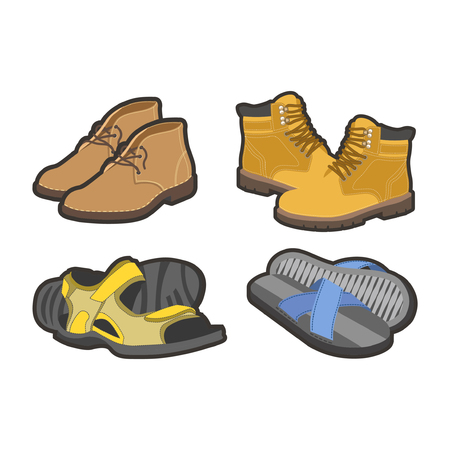 Men shoes types, sandals or boot sneakers vector flat isolated icons set