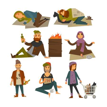 Homeless people, beggars and bum vagrants vector flat isolated icons