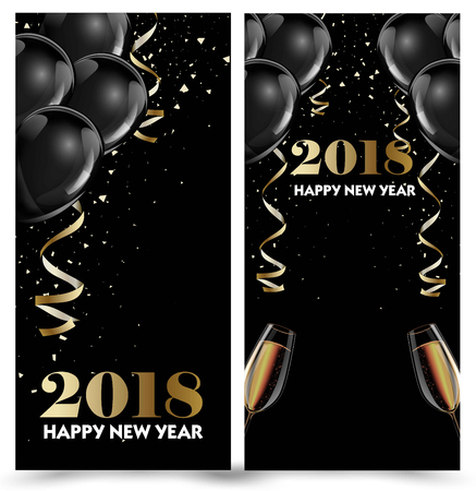 3d ball: Happy New Year 2018 greeting card or banner template flyer or invitation design.