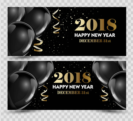 shiny: Happy New Year 2018 greeting card or banner template flyer or invitation design.