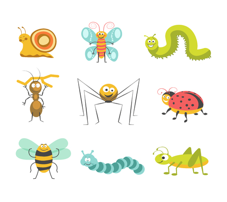 kiddish: Funny insects with cheerful facesisolated illustrations set