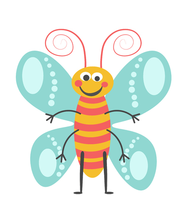 Cheerful butterfly with curled antennae, lot of limbs, pattern on wings and striped body isolated vector illustration on white background. Cartoon animalistic animal with kind facial expression. Illustration