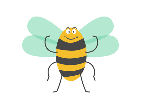 Big strong striped bumblebee with small wings, thin smile, thick eyebrows and plump body isolated cartoon vector illustration on white background. Adorable insect with funny facial expression.