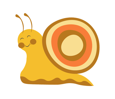 Adorable snail with colorful shell, smooth yellow body, closed eyes, friendly smile, round cheeks and long antennae isolated vector illustration on white background. Funny small animalistic character. Illustration