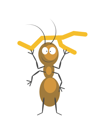 Funny brown ant that holds small dry branch over his head with small thin limbs, body that consists of ovals, long antennae and ridiculous face isolated vector illustration on white background. Иллюстрация