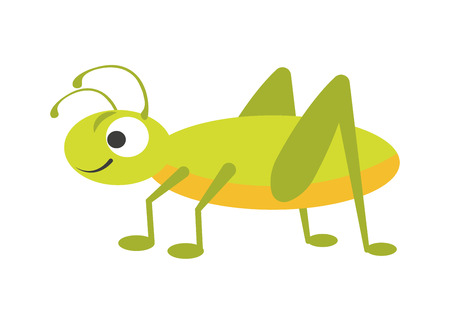 Funny vigorous grasshopper with big eye, small smile, curved antennae, yellow chest, green back and long springy legs isolated on white background. Friendly character cartoon vector illustration. Illustration