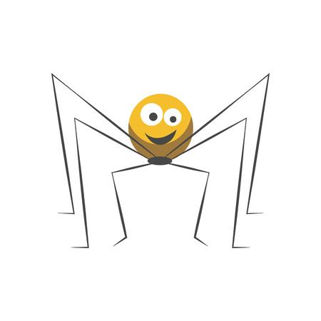 big: Friendly spider with round yellow body, big eyes, welcome smile and long thin legs isolated cartoon flat vector illustration on white background. Childish character with cute facial expression. Illustration