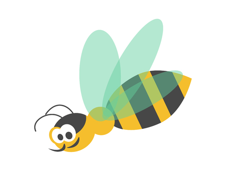 Adorable wasp with striped body, black head, sharp proboscis, big eyes and transparent wings isolated cartoon.