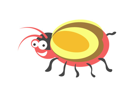 Ridiculous red round bug with yellow wings, bulging eyes, broad smile. Illustration