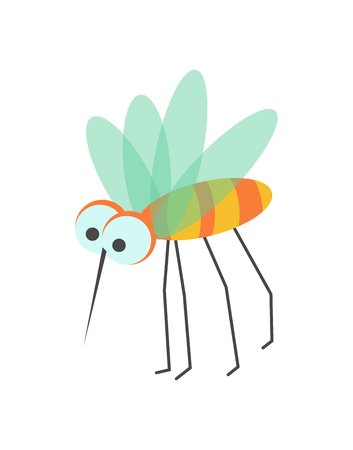 Funny mosquito with huge eyes, sharp proboscis, striped body, small transparent wings and long thin legs. Illustration
