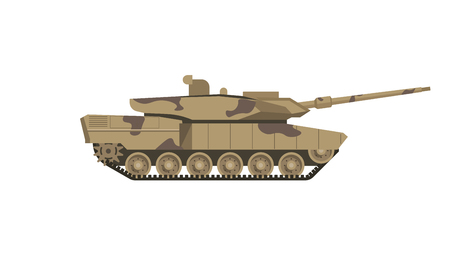steel industry: Military tank of camouflage color isolated cartoon illustration Illustration
