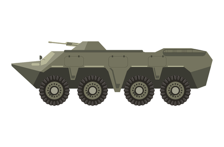 heavy: Military vehicle with four pairs of wheels and cannon
