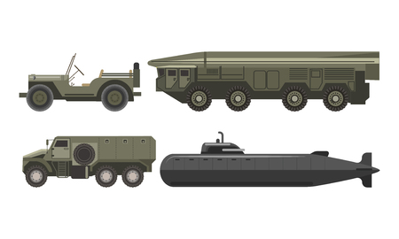 Military transport with bulletproof corpus illustrations set