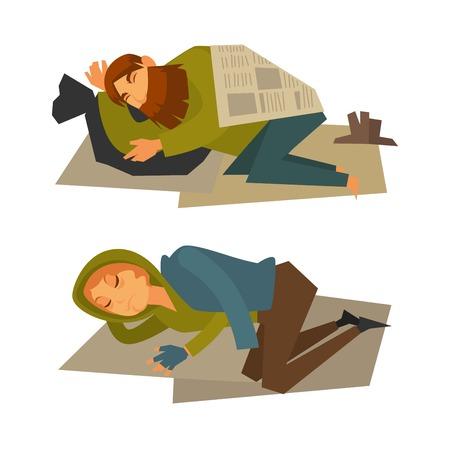 Homeless man and woman sleep on cardboard sheet