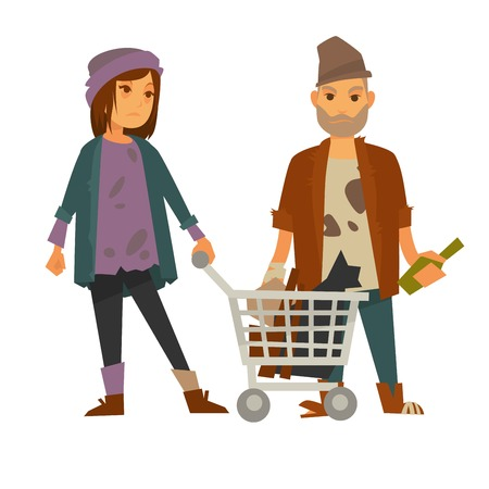 Homeless woman with cart of rubbish and drunk man
