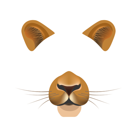 mobile app: Lion animal face filter template video chat photo effect vector isolated icon Illustration
