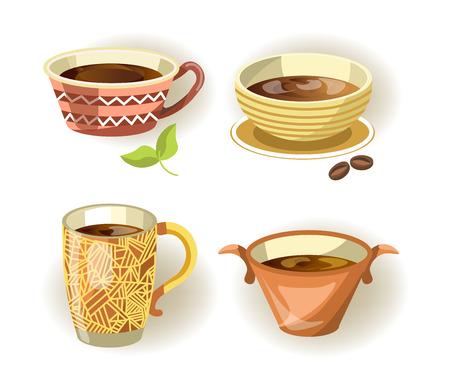 Set of coffee and tea mugs