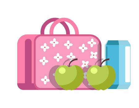 School lunch in a convenient girlish briefcase with flower pattern Illustration