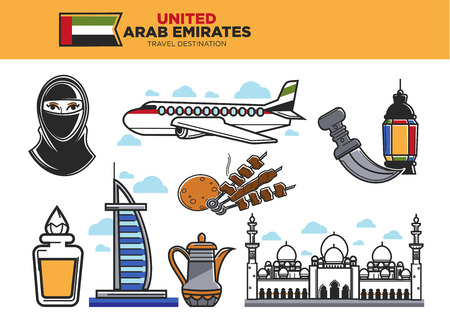 cloud: United Arab Emirates travel destination poster with country symbols