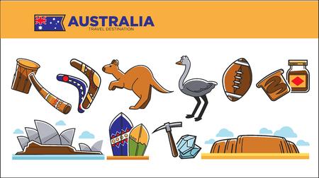 Australia travel destination poster with national symbols set