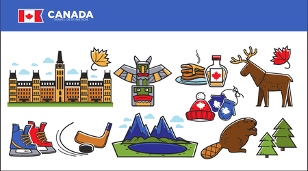Canada travel destination advertisement with country symbols set