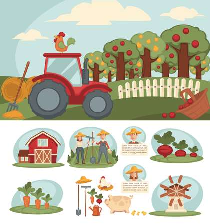 heavy: Farm with big orchard, red tractor and small haystacks