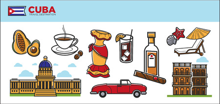 cuban culture: Cuba travel destination promotional poster with country symbols