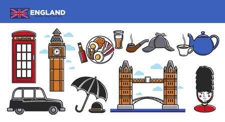 cabina telefonica: Inglaterra destino de viaje ilustración vectorial.