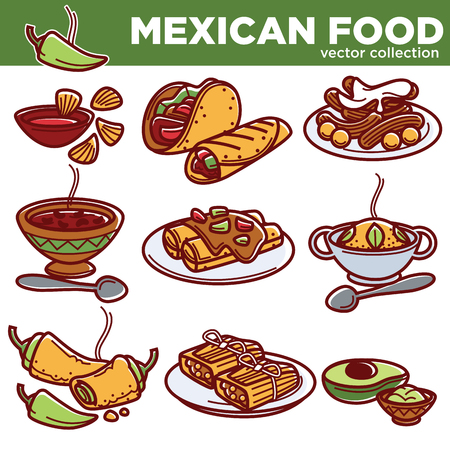 enchilada: Mexican food cuisine traditional dishes icons for restaurant menu