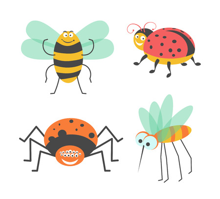 Funny insects with cute faces isolated vector illustrations set on white background. Illustration