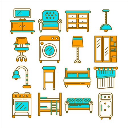 Home furniture and room interior accessories or appliances of bedroom, kitchen or bathroom. Illustration