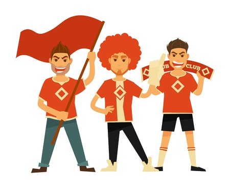Sport club fans soccer or football team flags banners vector flat icons