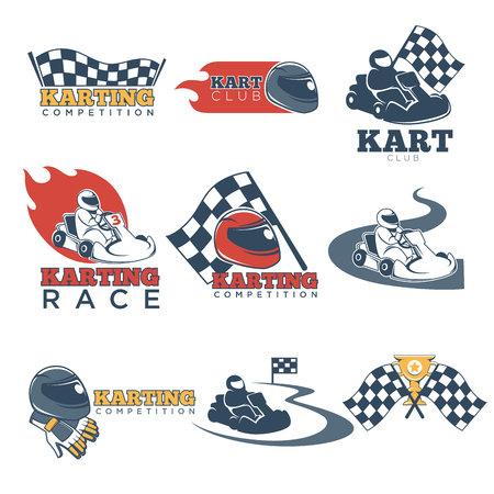 Karting club or kart races sport competition template icons set