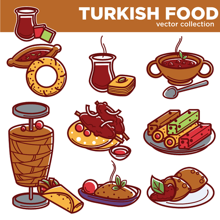 Turkish food cuisine dishes icons for traditional restaurant menu