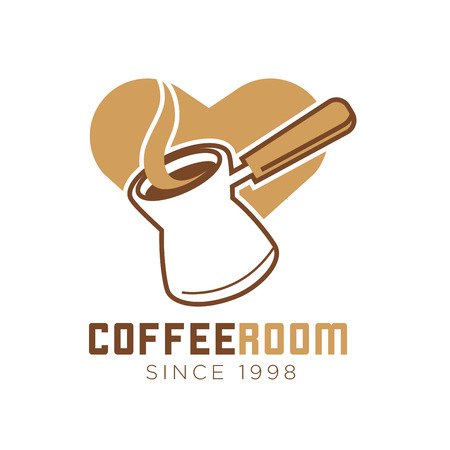 Coffee room cafe vector icon template of heart and maker