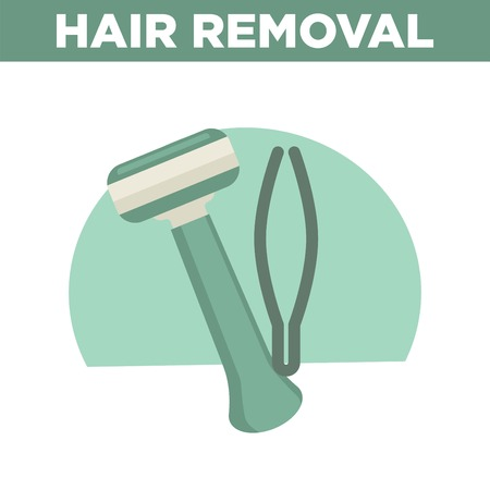 Hair removal promotional banner with shaver and tweezers Vector illustration. Illustration