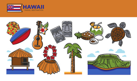 ocean waves: Hawaii travel destination promotional poster with country symbols