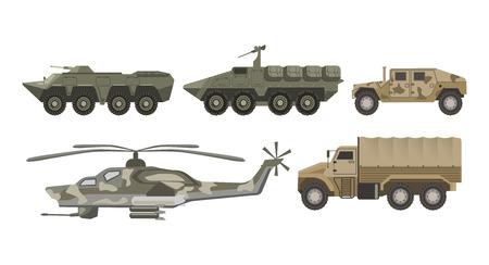 軍の交通機関および軍隊航空機械ベクトル分離アイコン セット