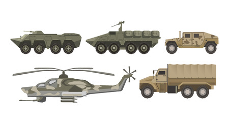 Military transport and army aviation machines vector isolated icons set